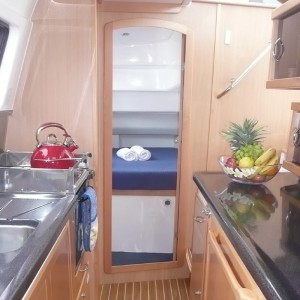 Seawind 1250 catamaran seawindow kitchen bedroom